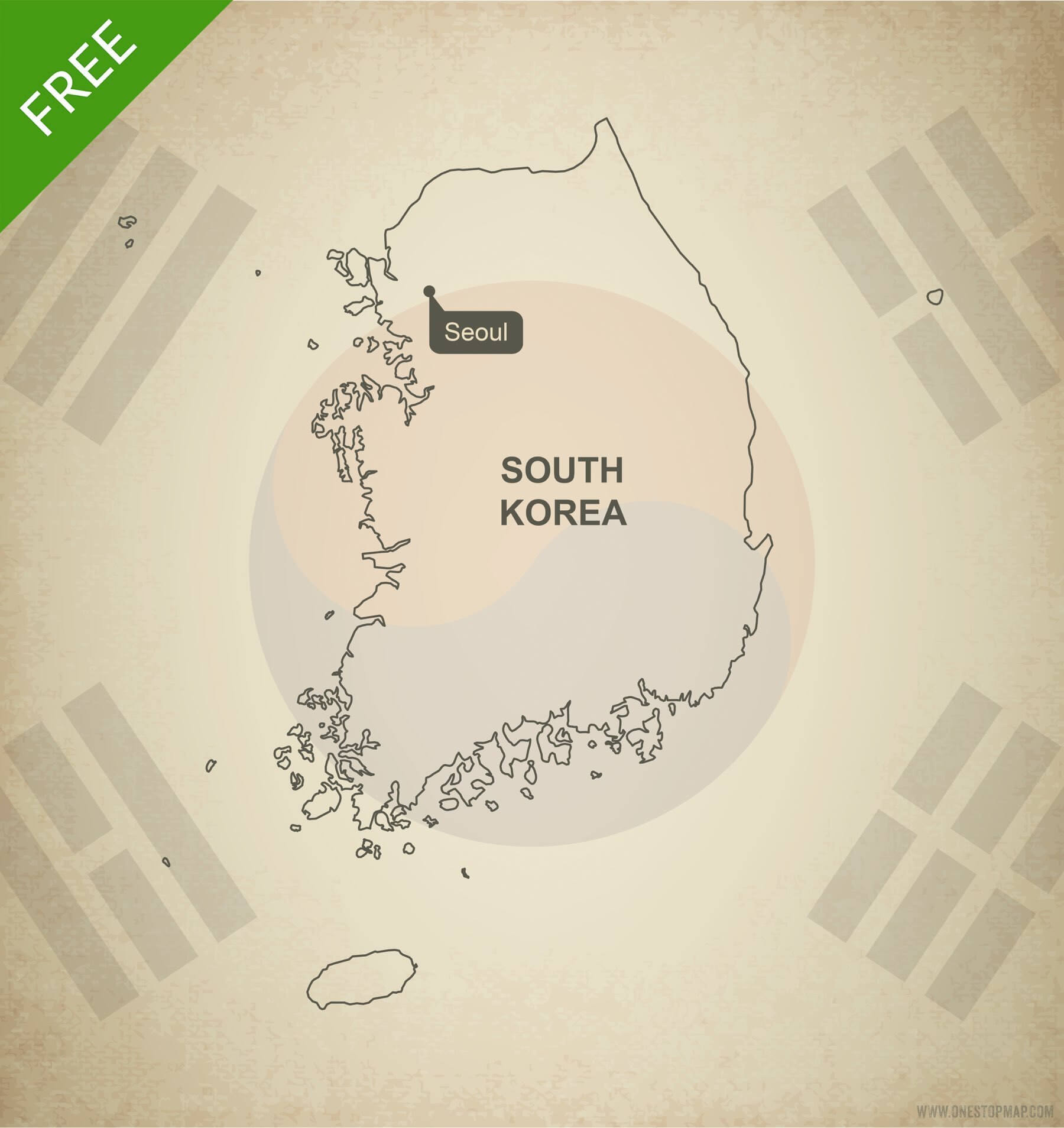 Free Vector Map Of South Korea Outline One Stop Map - South korea map vector