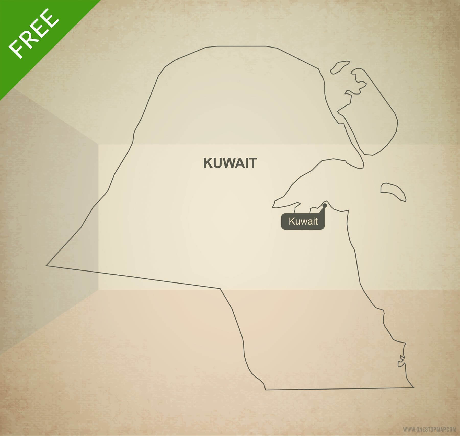 Free Vector Map Of Kuwait Outline One Stop Map - Kuwait map