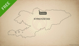 Free vector map of Kyrgyzstan outline