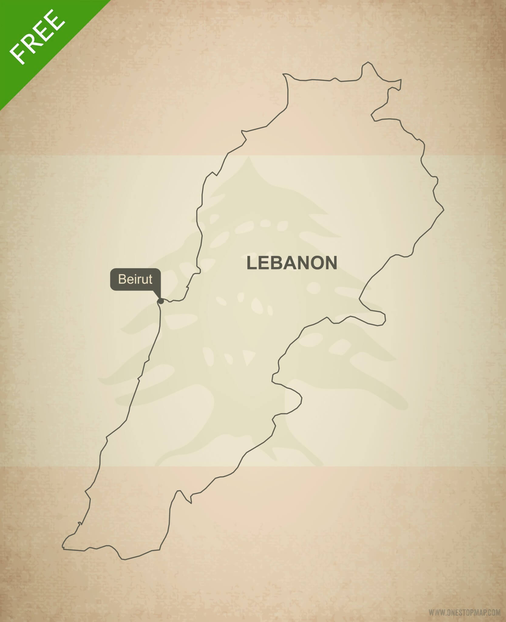 Free vector map of Lebanon outline