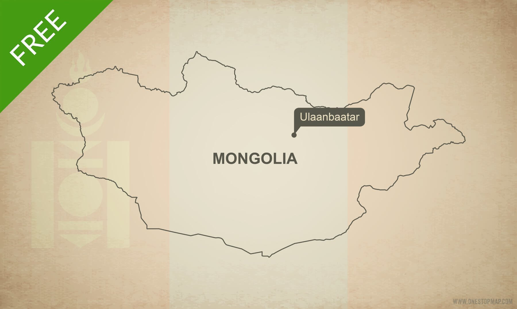 Free Vector Map of Mongolia Outline One Stop Map