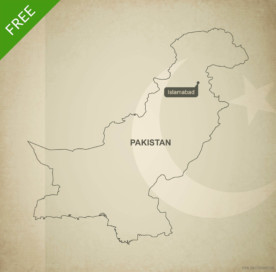 Free vector map of Pakistan outline