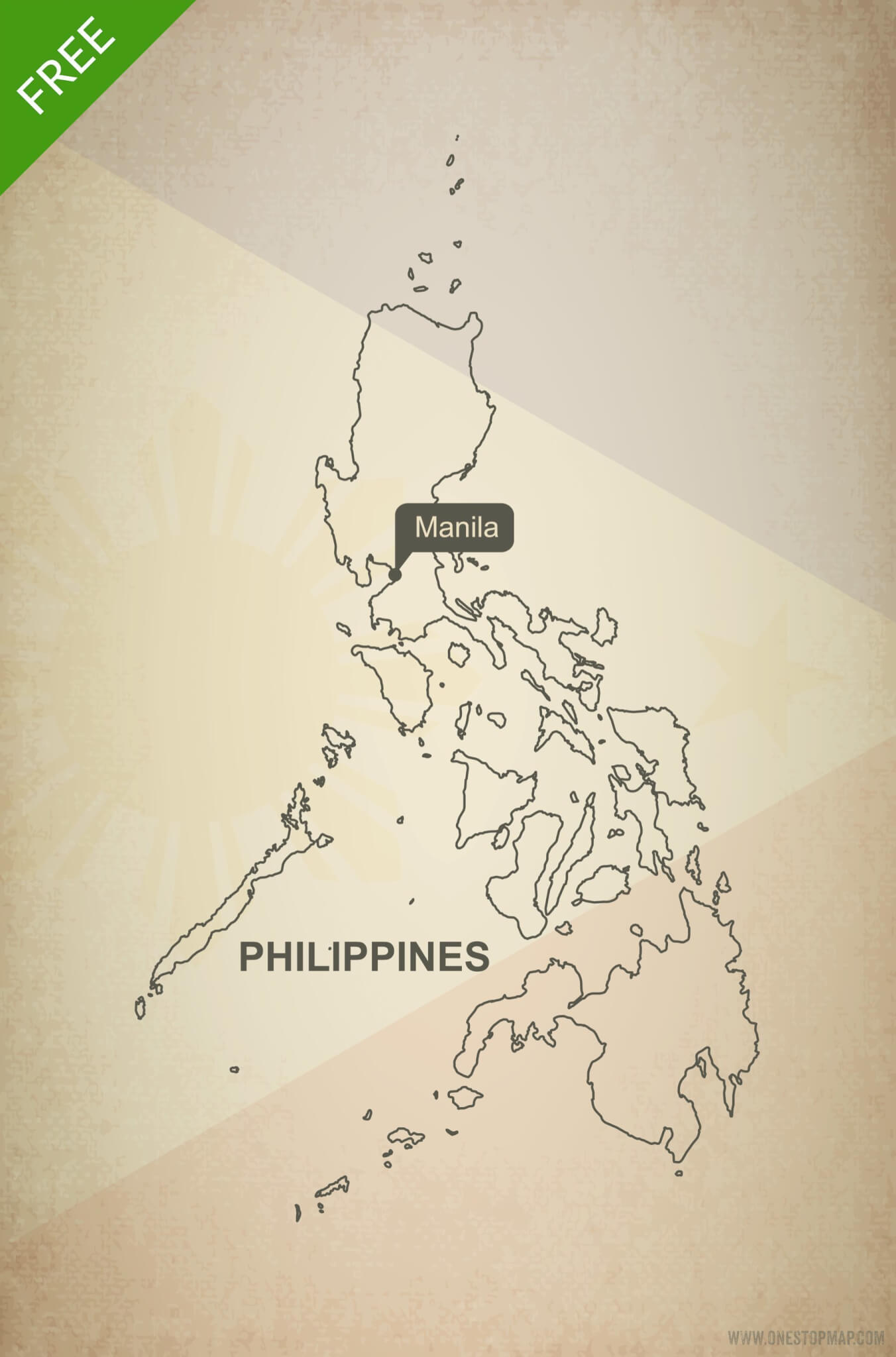 Free Vector Map Of Philippines Outline One Stop Map