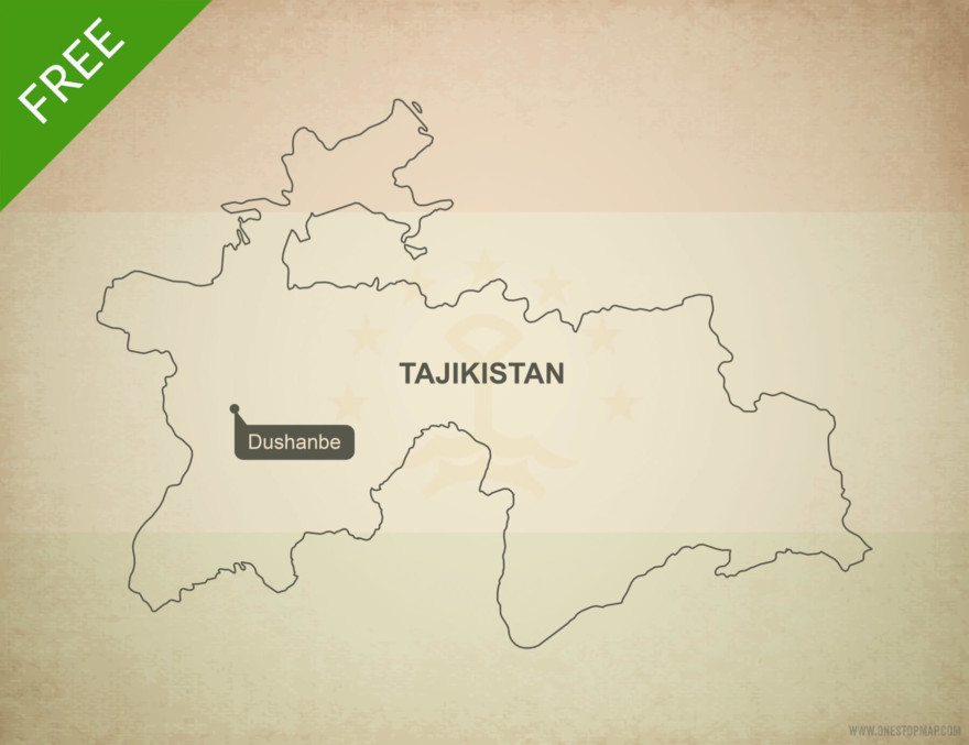 Free vector map of Tajikistan outline