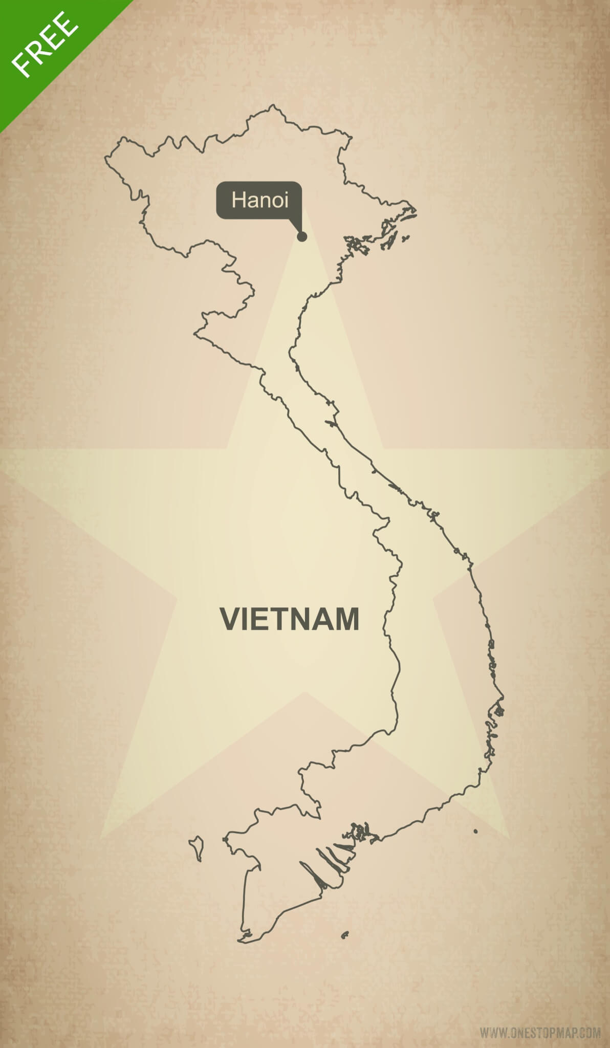 Free Vector Map Of Vietnam Outline One Stop Map - Vietnam map outline