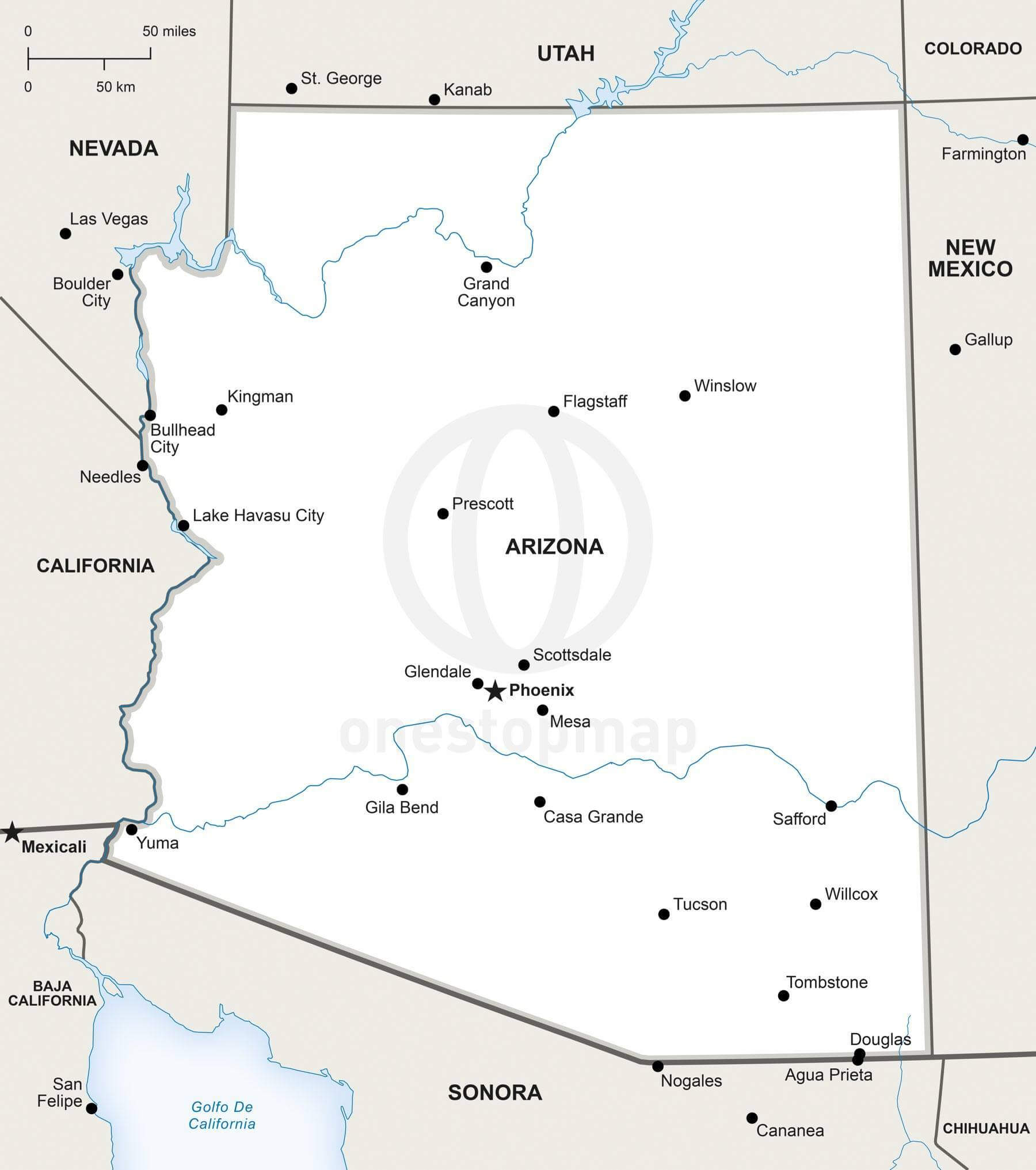 Map Of Arizona With Major Cities.Vector Map Of Arizona Political One Stop Map