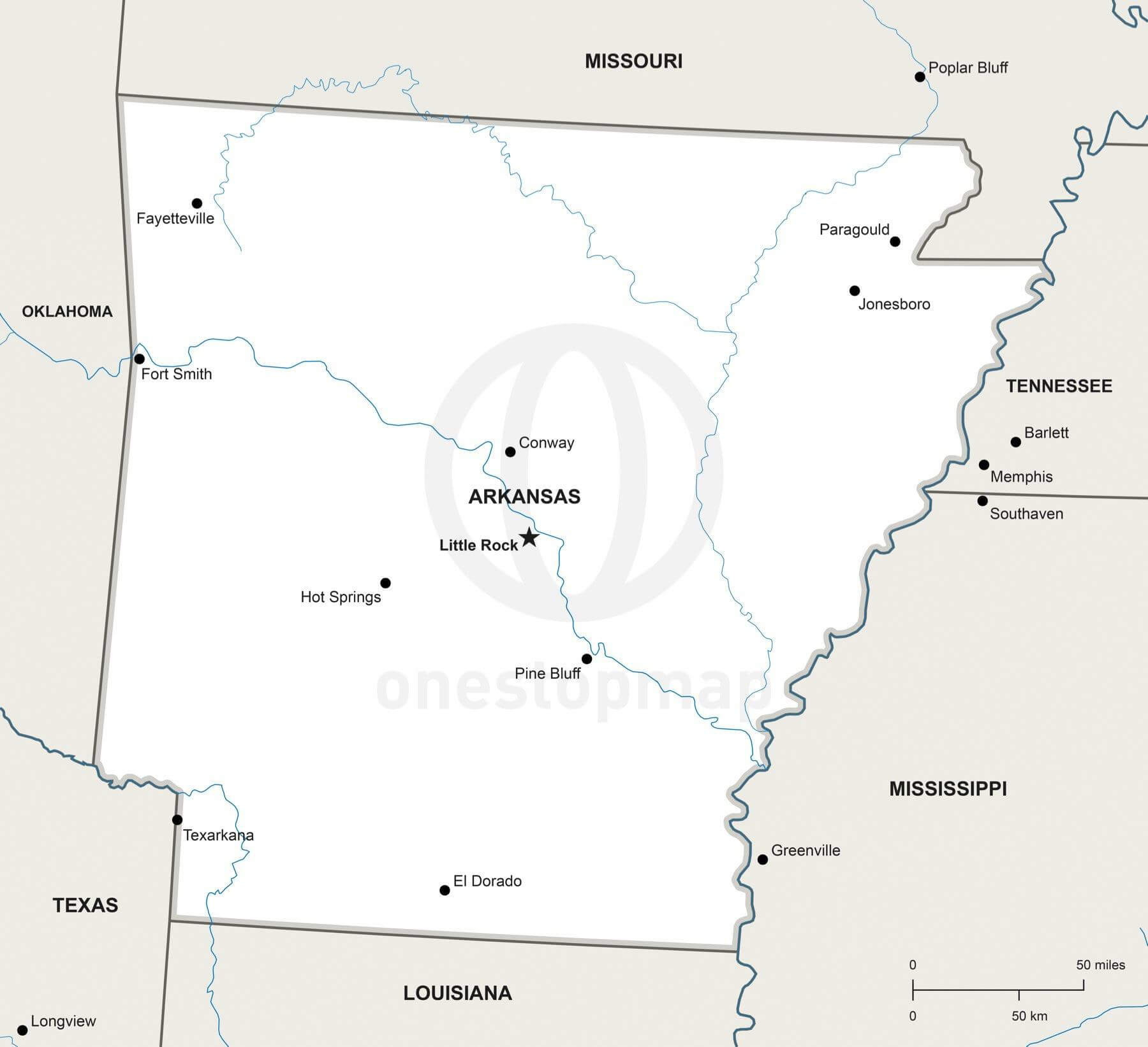 image regarding Printable Map of Arkansas named Map of Arkansas political