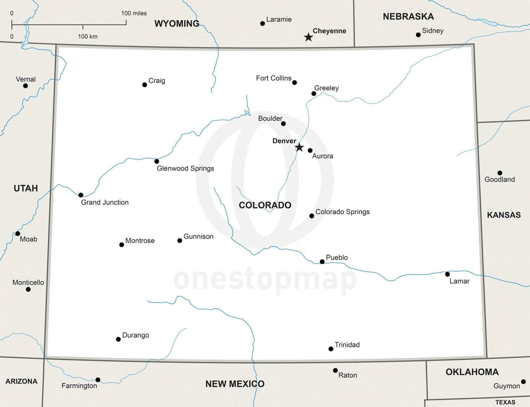 Vector Map of Colorado political | One Stop Map