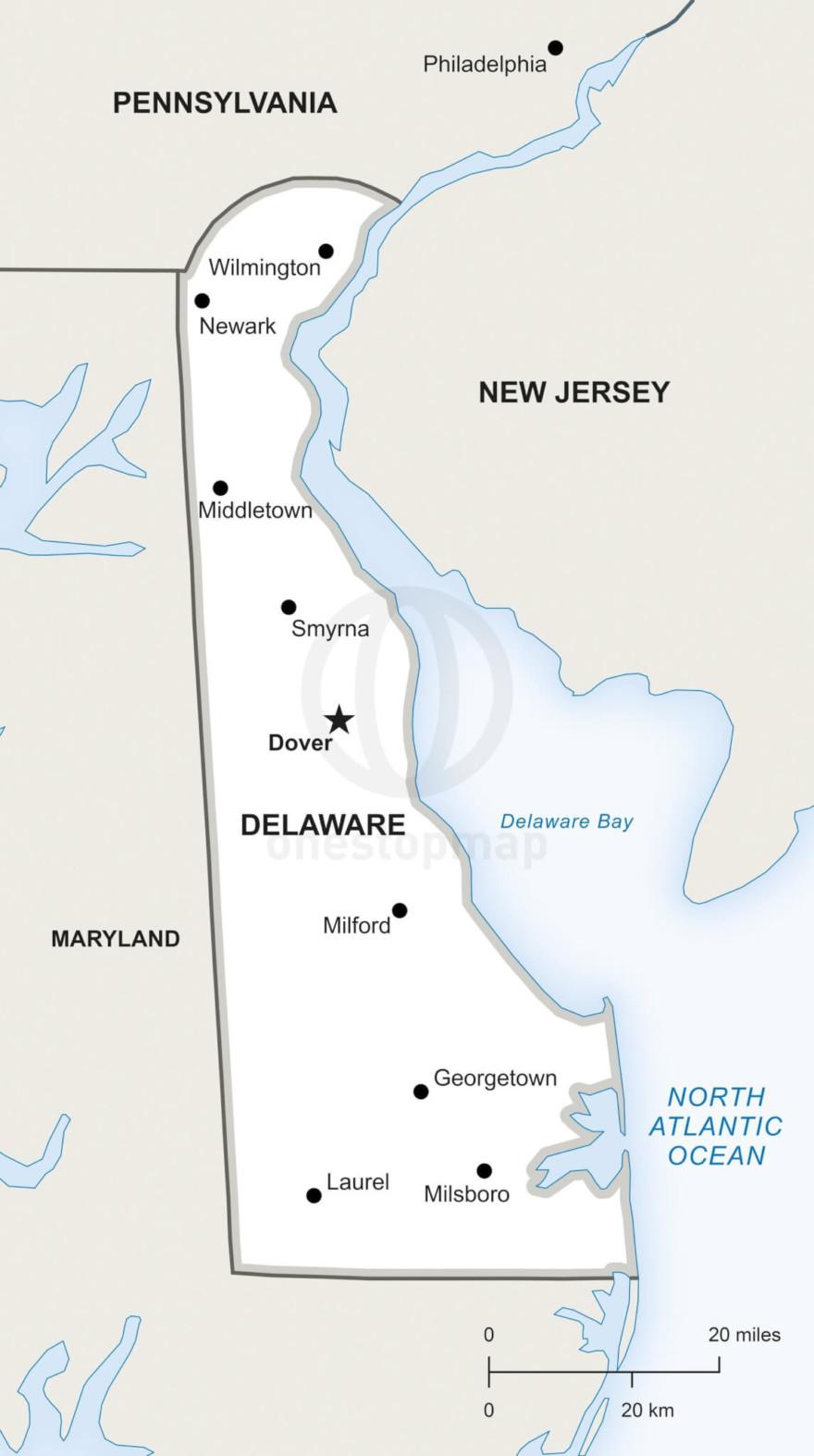 Vector map of Delaware political