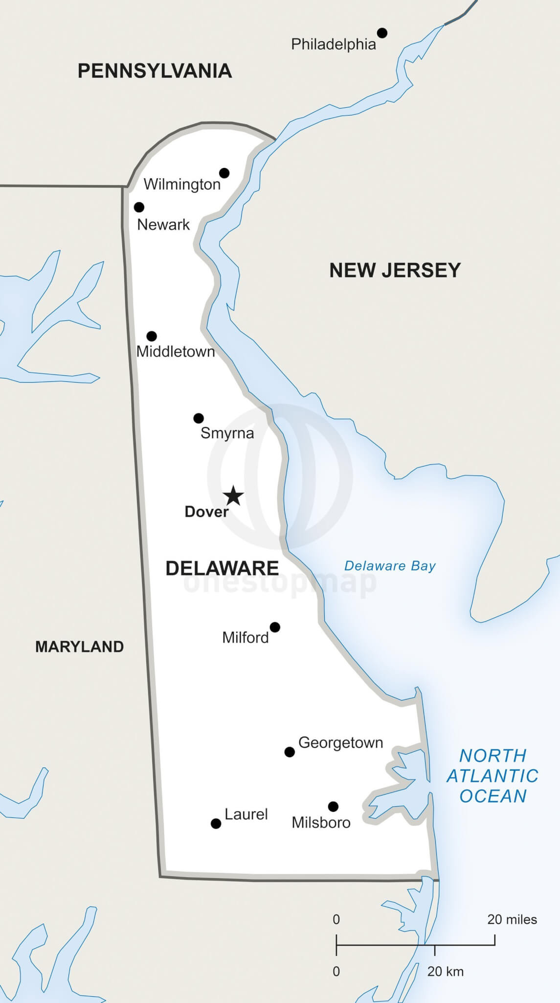 Vector Map of Delaware political | One Stop Map on