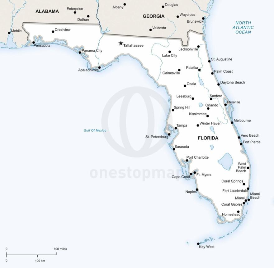 Vector map of Florida political