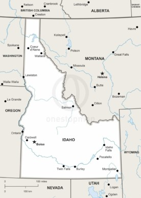 Free Vector Map Of Idaho Outline One Stop Map - Idaho political map