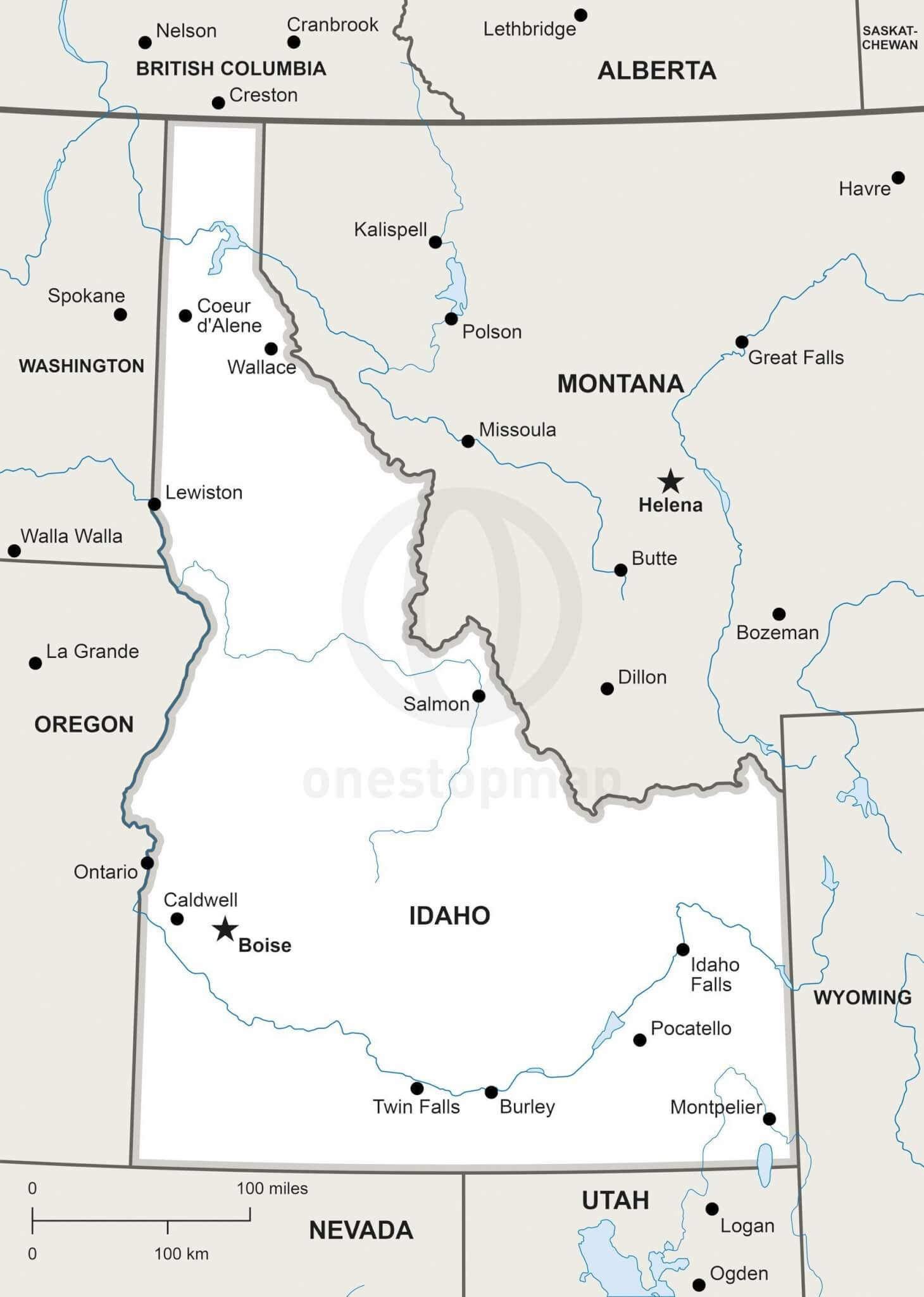 Vector Map of Idaho political | One Stop Map