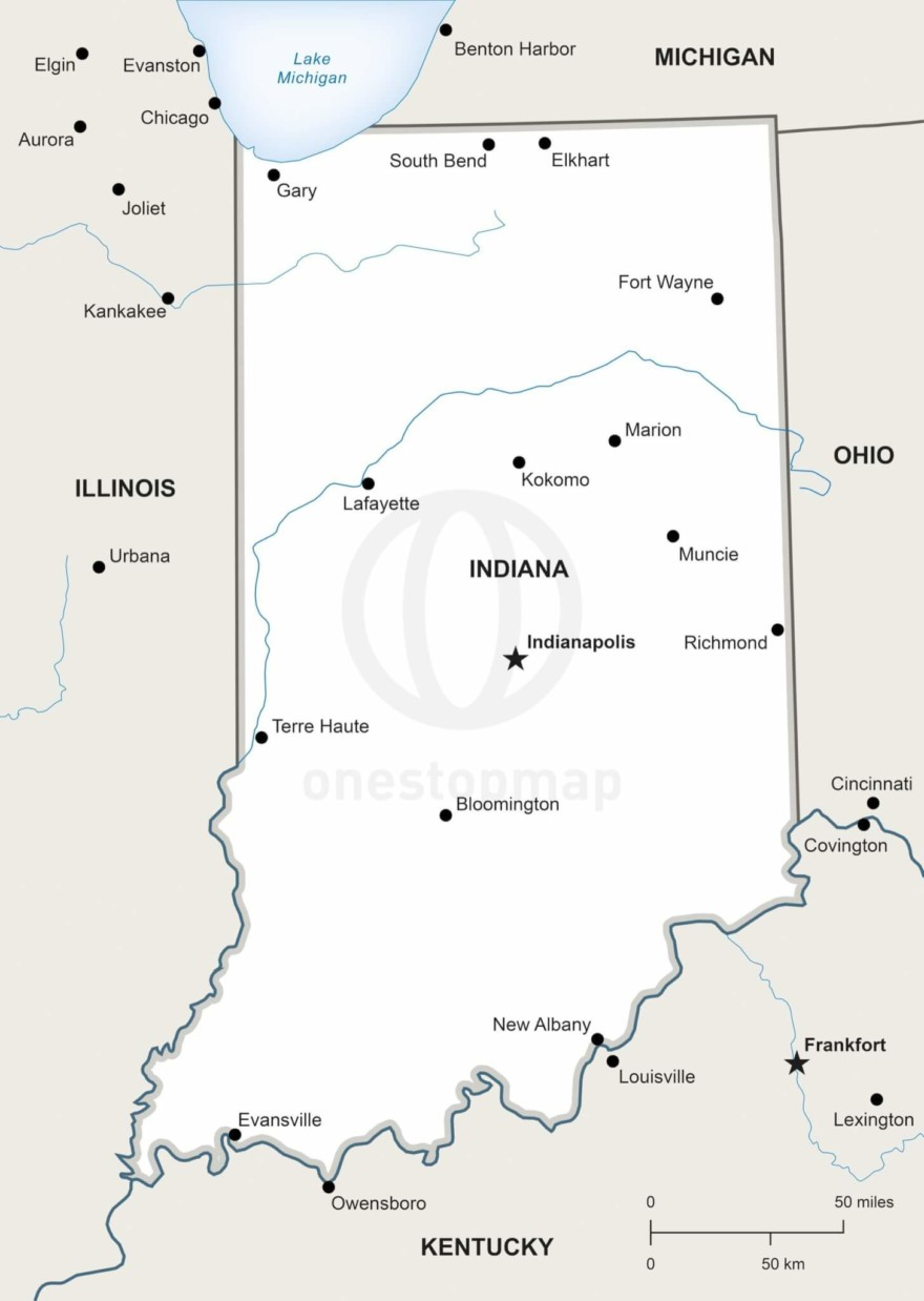 Vector map of Indiana political