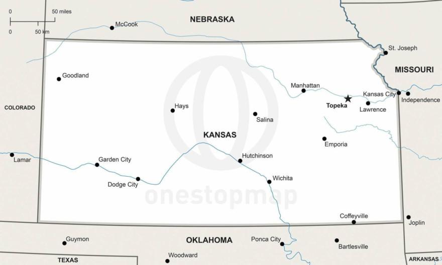 Vector map of Kansas political