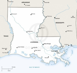 Vector Map Of Louisiana Political One Stop Map