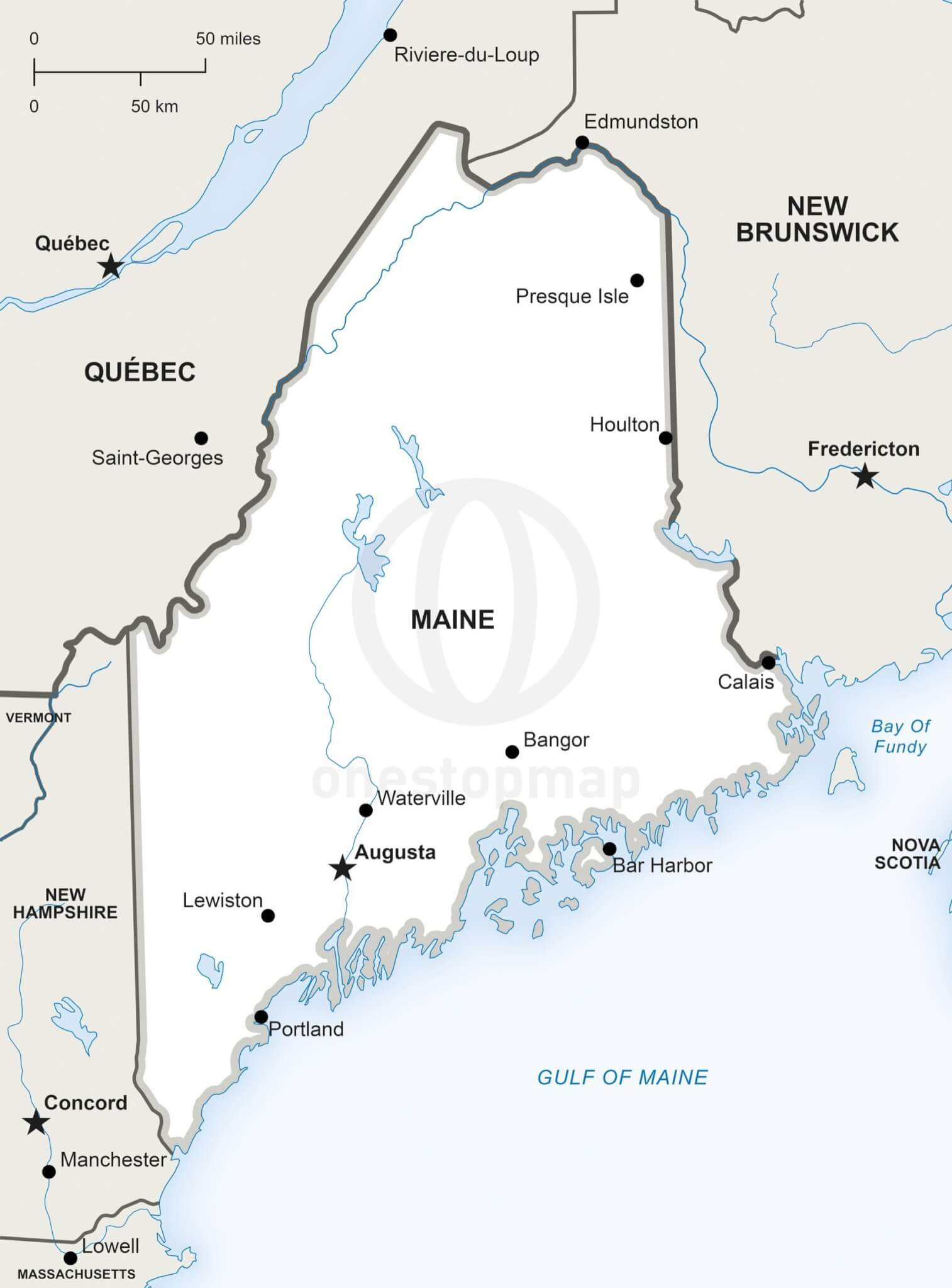 State Of Maine Map With Cities.Vector Map Of Maine Political One Stop Map