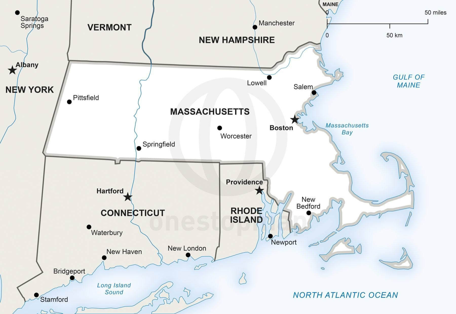 Free Vector Map Of Massachusetts Outline One Stop Map - Map of massachussets