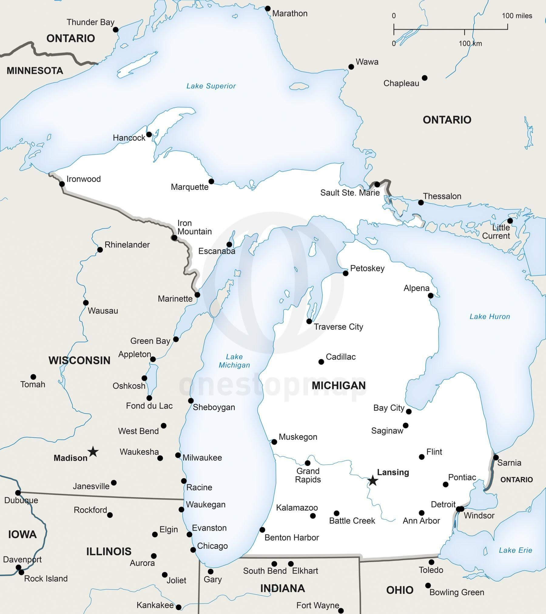 Vector Map of Michigan political | One Stop Map