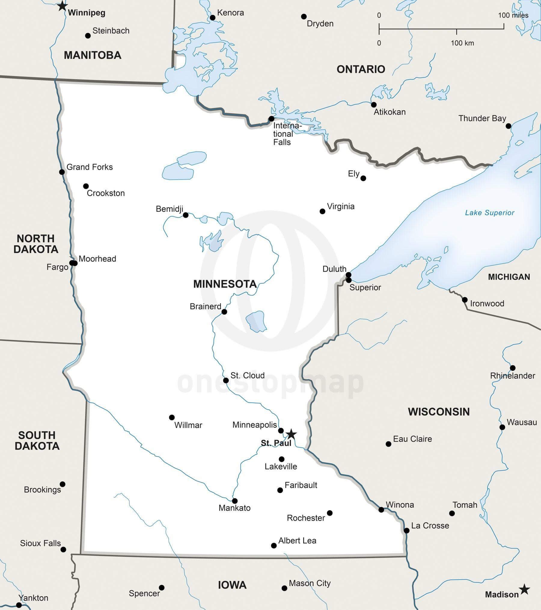 Vector map of Minnesota political