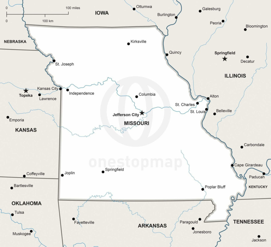 Vector map of Missouri political