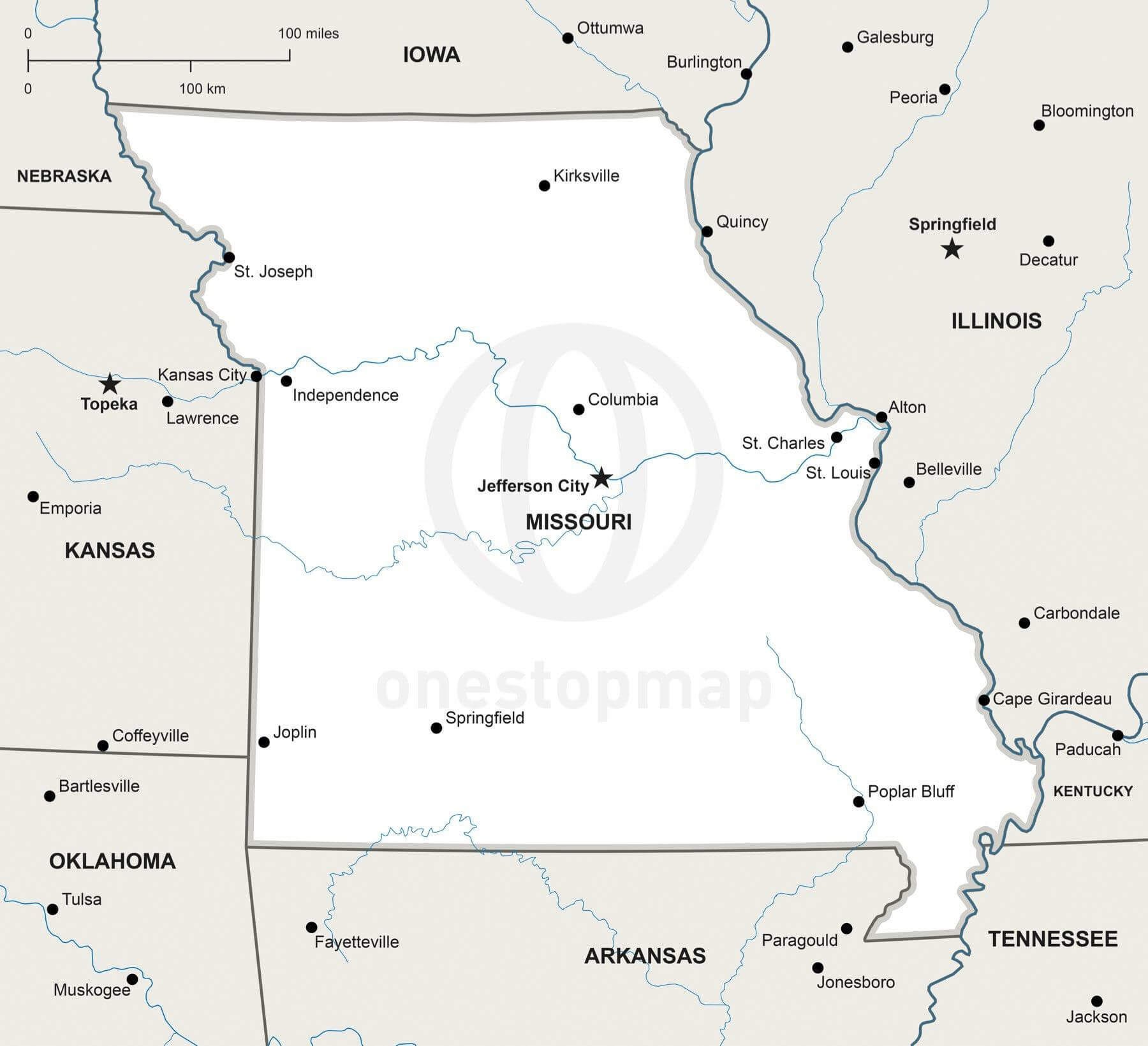 Vector Map Of Missouri Political One Stop Map - Map of missiouri