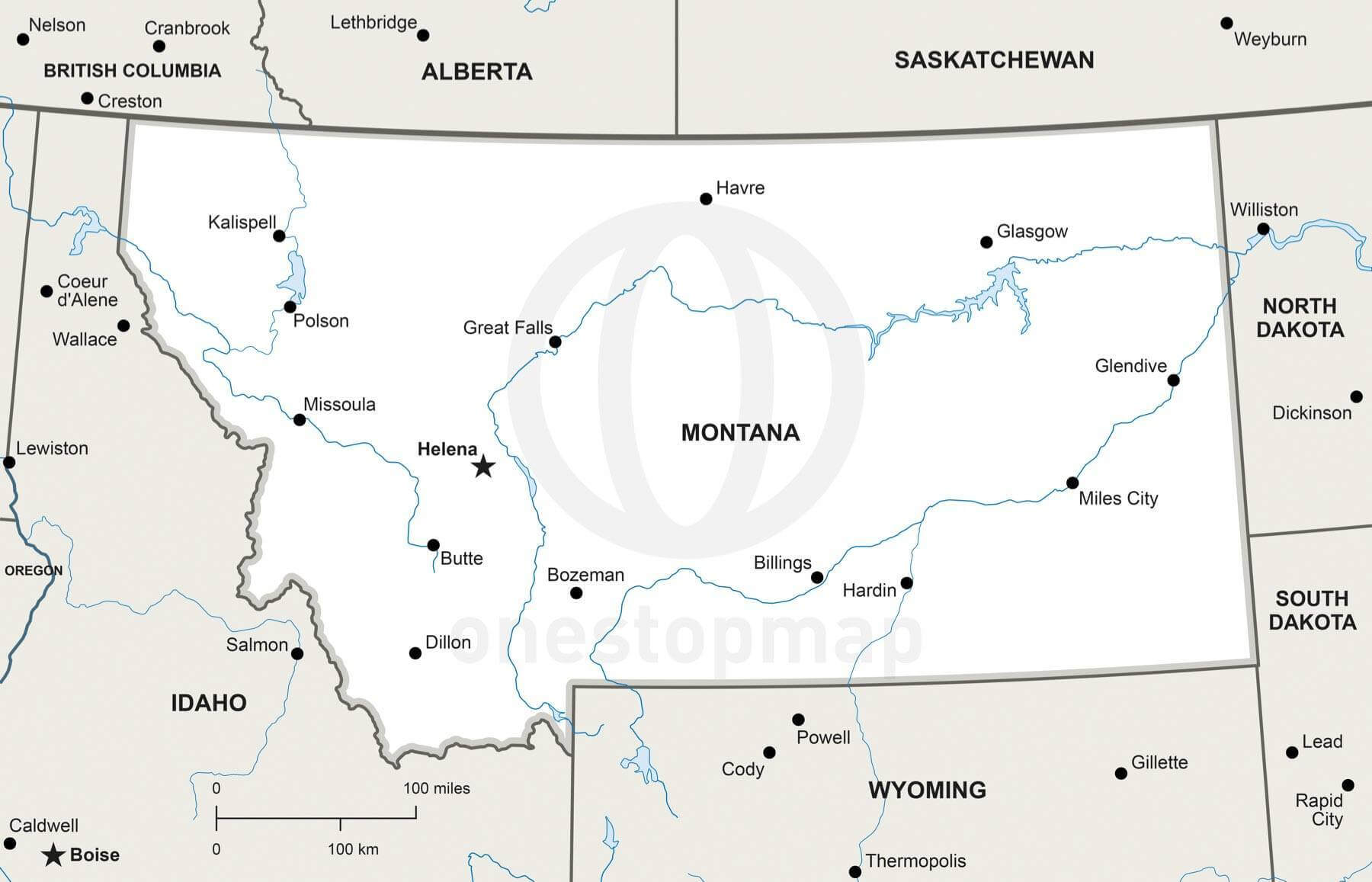 Vector Map Of Montana Political One Stop Map - Montana political map