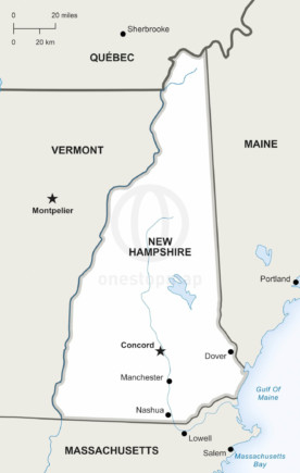 Free Vector Map Of New Hampshire Outline One Stop Map - Map of new hampshire