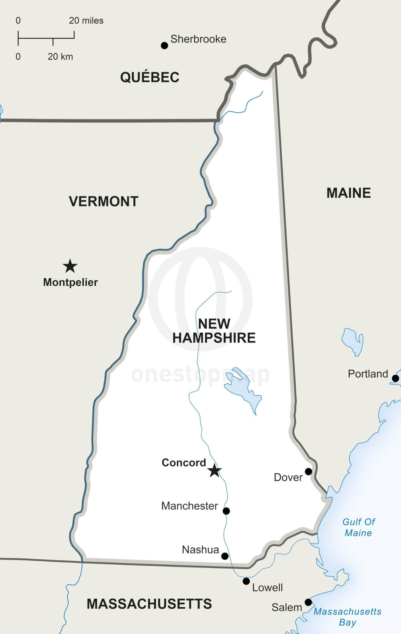 Vector Map of New Hampshire political | One Stop Map