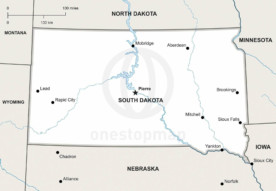 Free Vector Map Of South Dakota Outline One Stop Map - Political map of south dakota