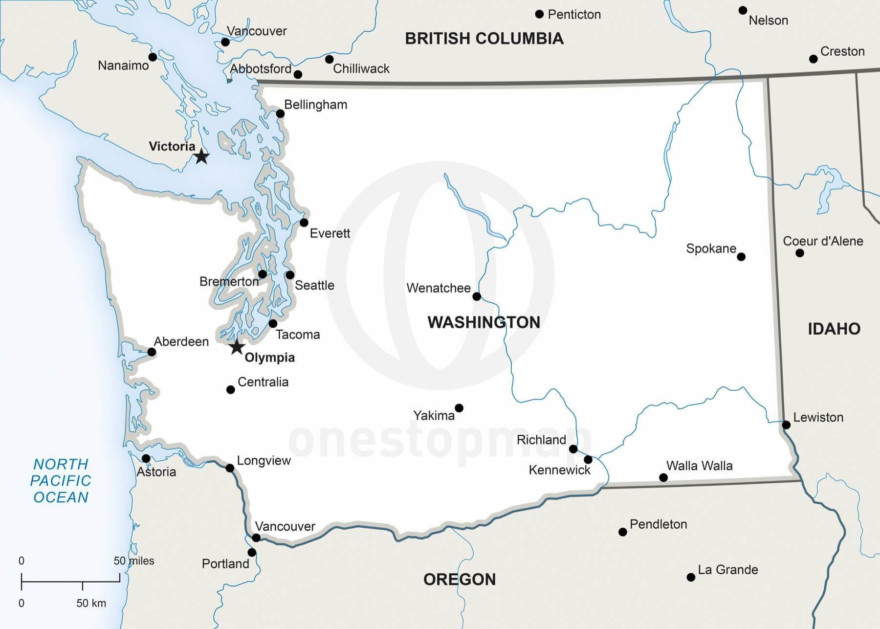 Vector map of Washington political
