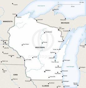 Vector map of Wisconsin political