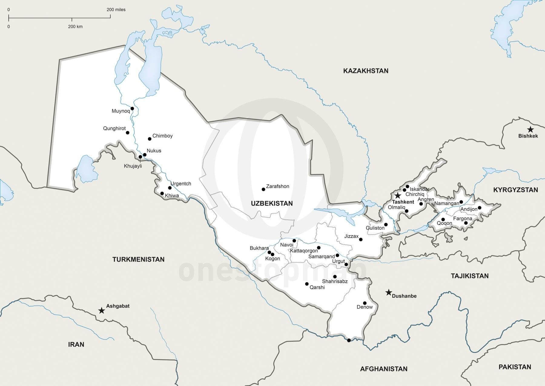 Vector Map of Uzbekistan political One Stop Map