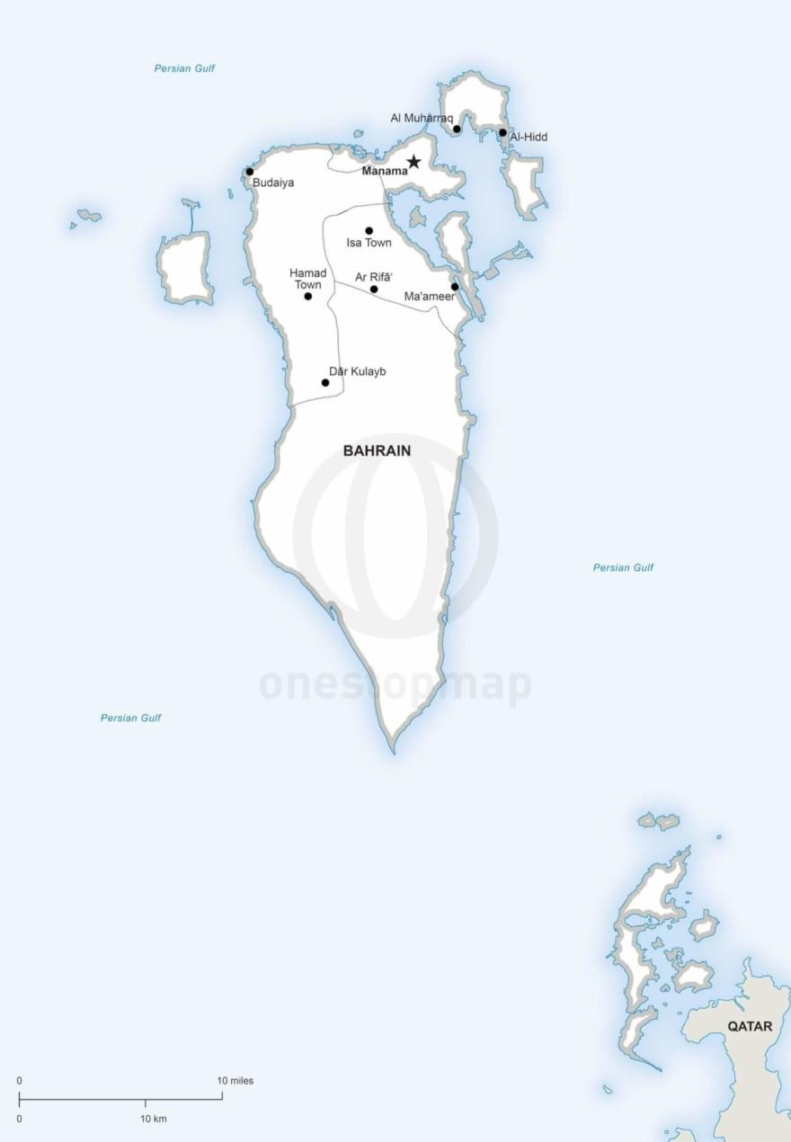 Vector map of Bahrein political