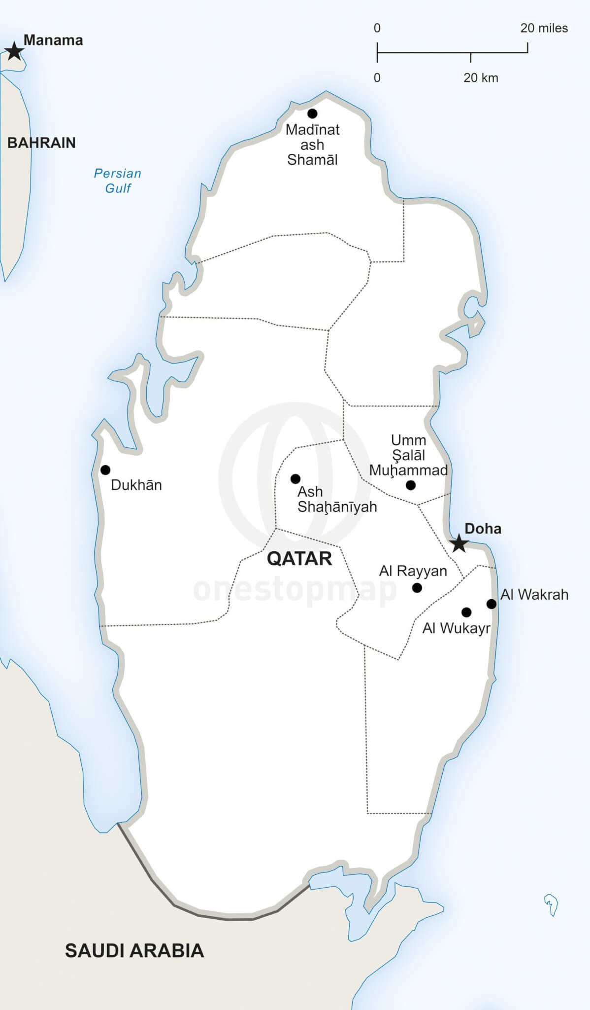 Vector Map of Qatar Political | One Stop Map on