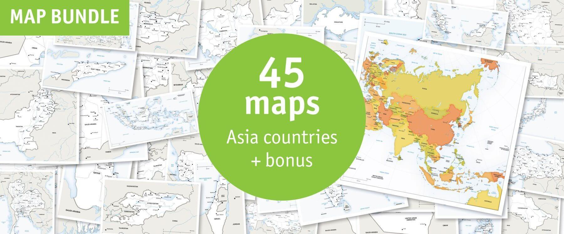 Map bundle Asia countries political