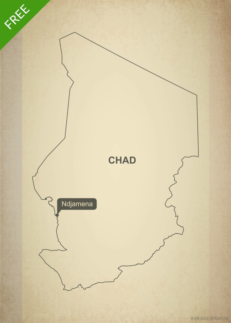Free vector map of Chad outline