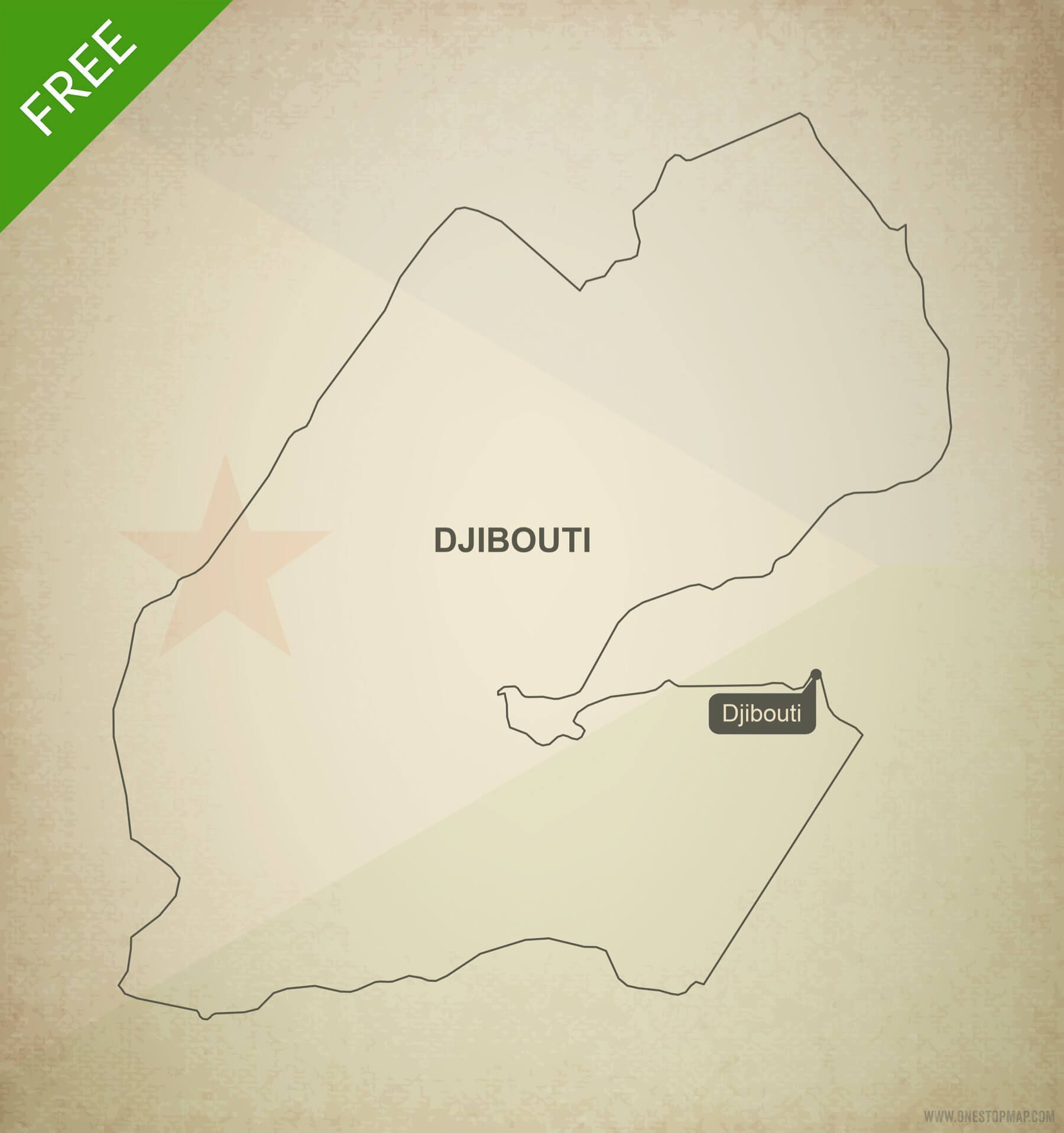 Free Vector Map of Djibouti Outline | One Stop Map on