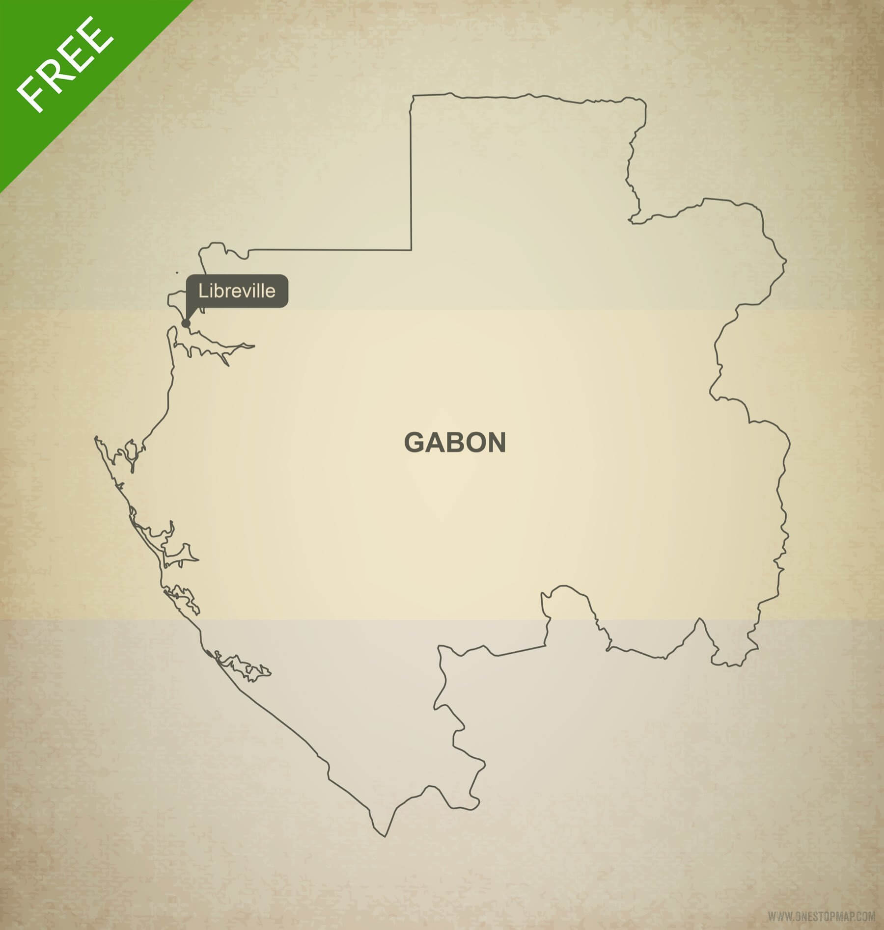 Free Vector Map Of Gabon Outline One Stop Map - Gabon blank map