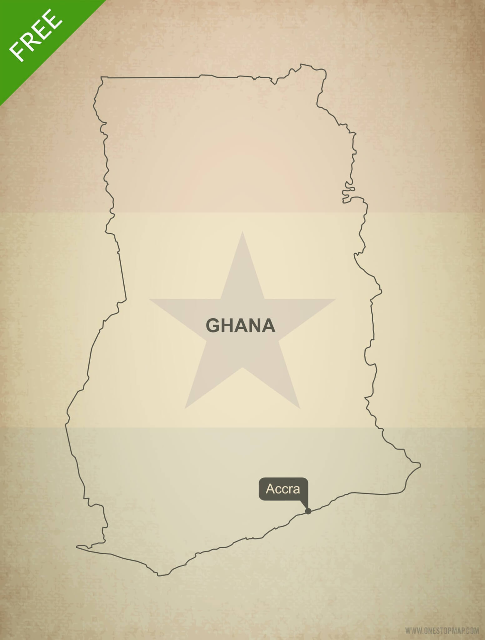 Free Vector Map Of Ghana Outline One Stop Map - Map of ghana