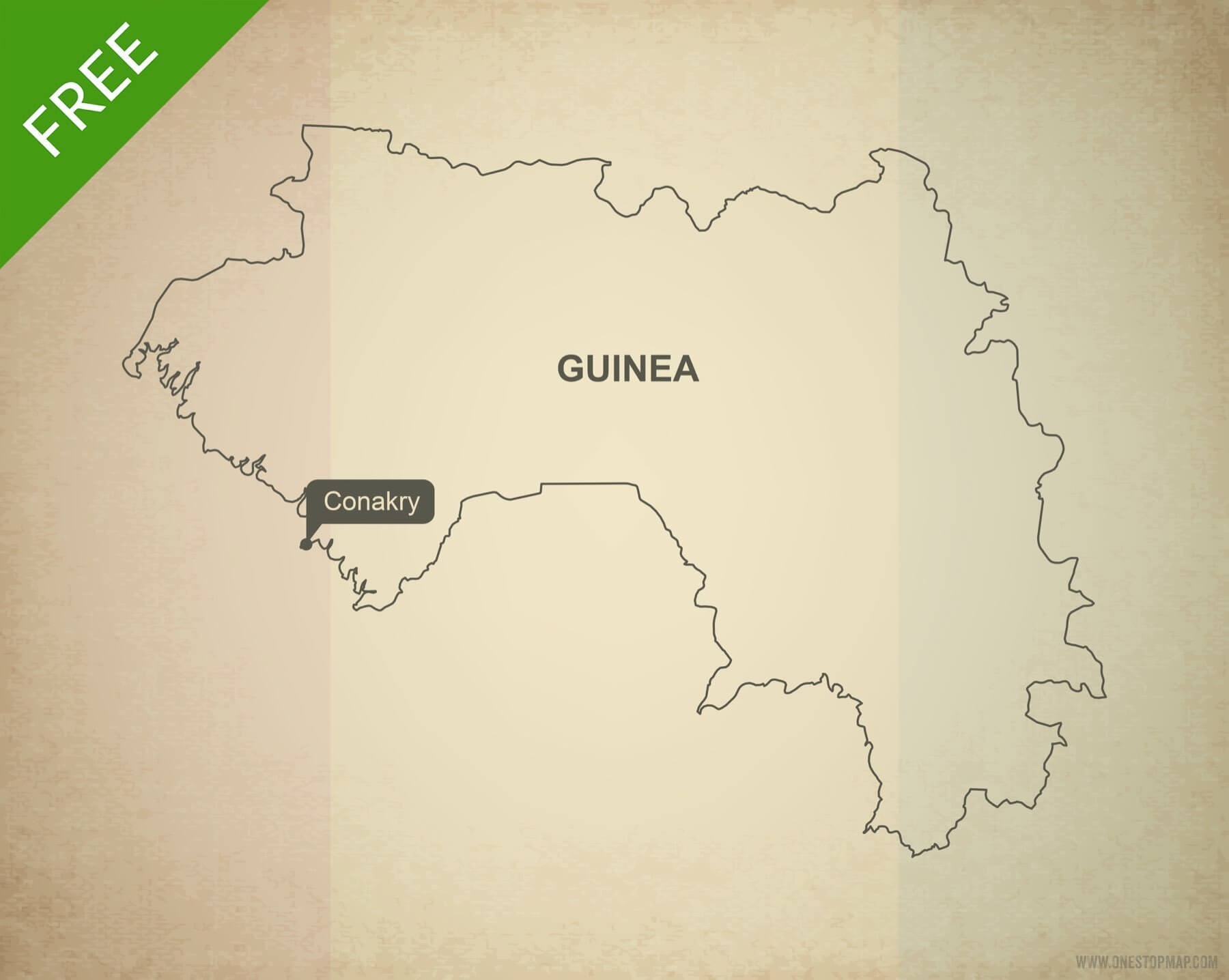Free vector map of Guinea outline