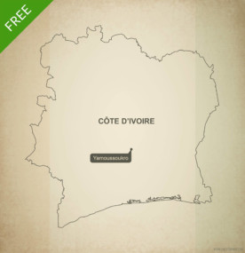 Free vector map of Ivory Coast outline