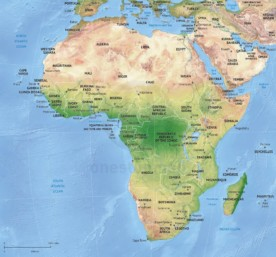 Vector map of Africa continent political with shaded relief
