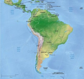 Vector map of South America continent political with shaded relief