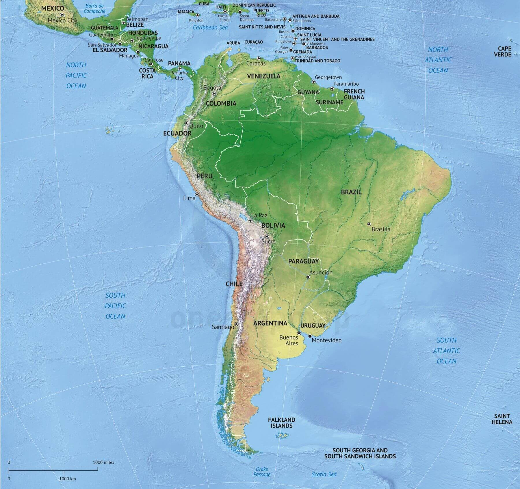 Vector map south america continent relief one stop map vector map of south america continent political with shaded relief gumiabroncs Choice Image
