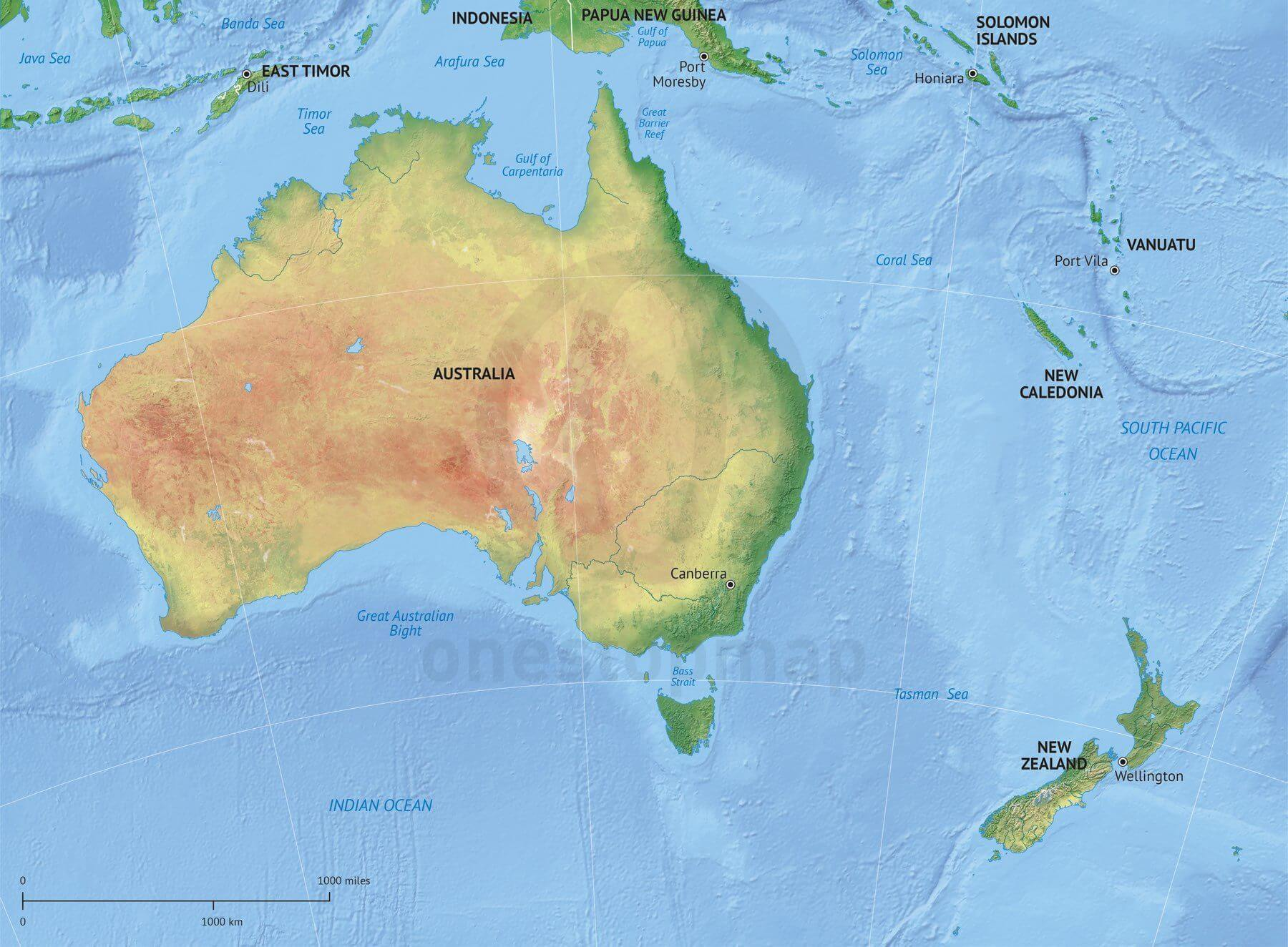 New Zealand Australia Map.Map Of Australia New Zealand Political With Shaded Relief