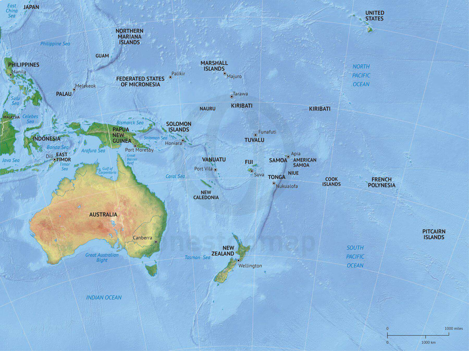 Australia Map Political.Vector Map Australia Continent Shaded Relief One Stop Map