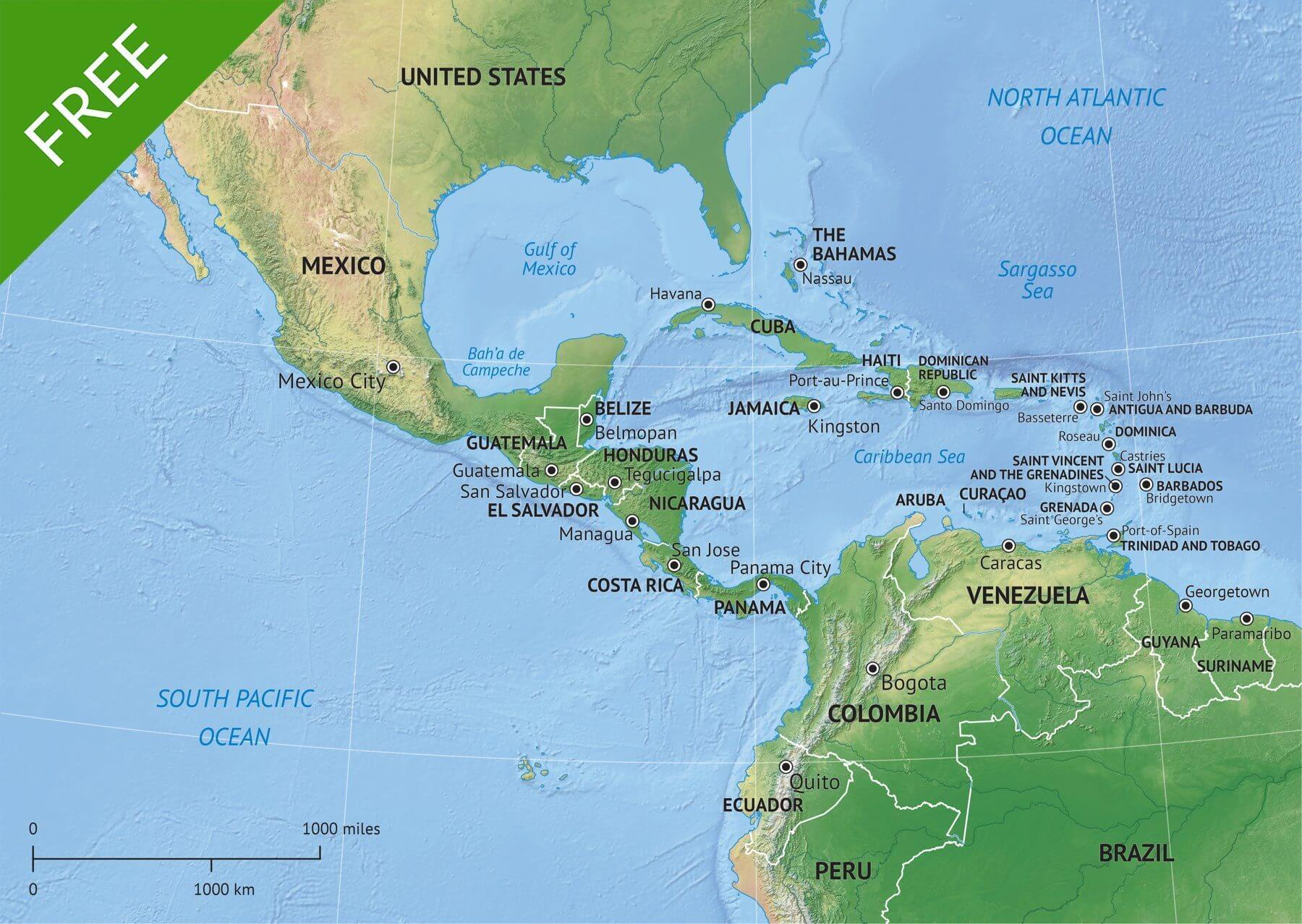 Free Vector Map Middle Central America | One Stop Map