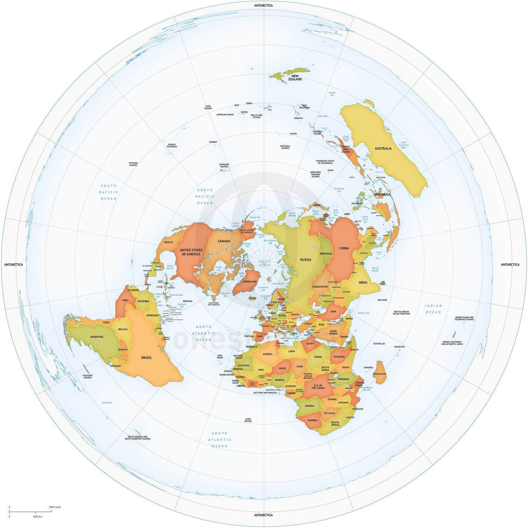 Vector map of world political Azimuthal Equidistant North Pole centered