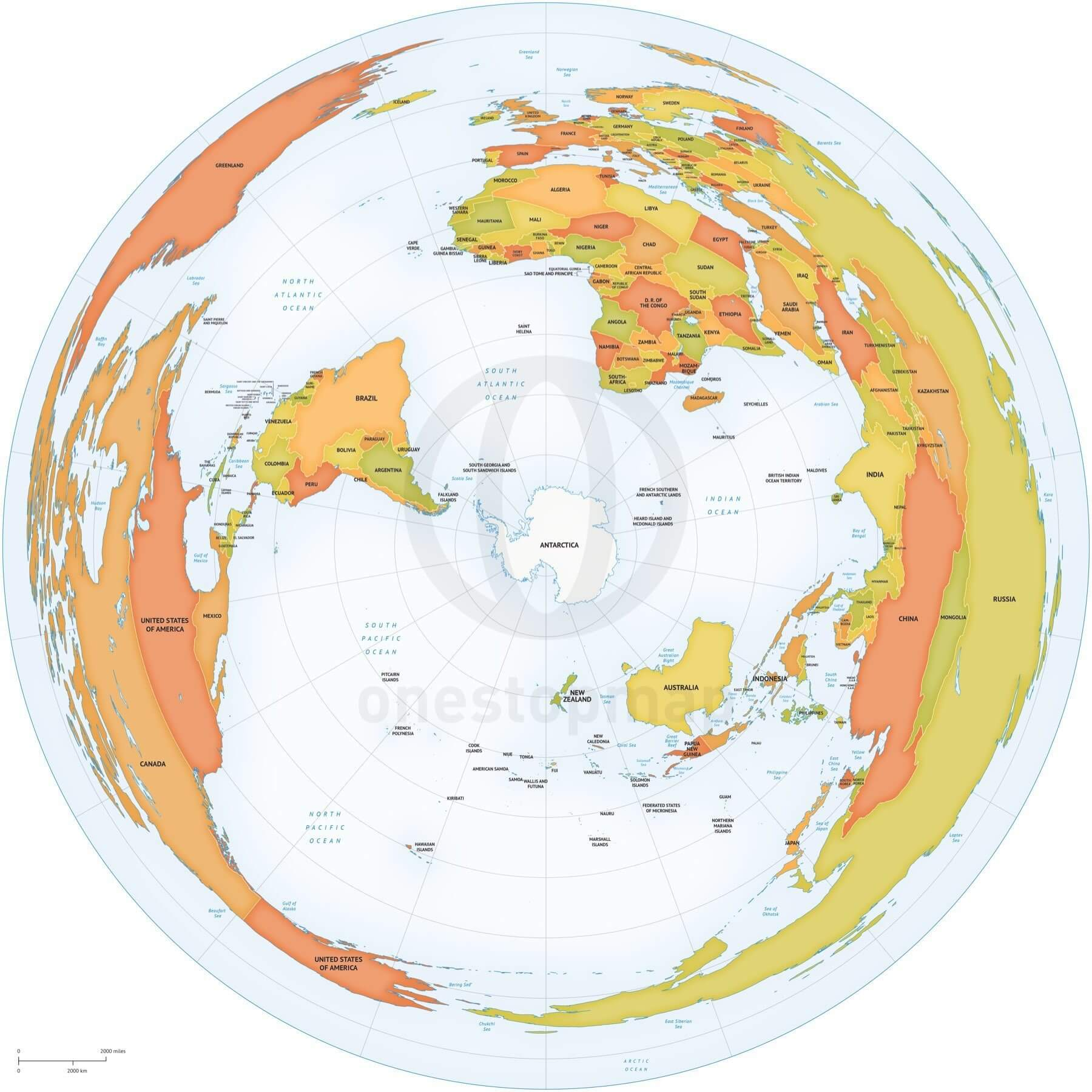 Map of World political Azimuthal Equidistant South Pole centered
